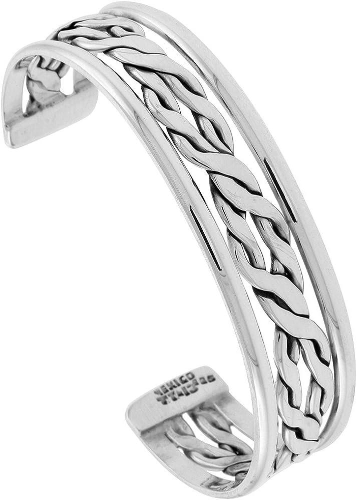 Sterling Popular product Silver Flat Rope Cuff Bracelet inch 7.25 SALENEW very popular! Handmade