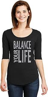 Womens Yoga T-Shirt Balance Your Life 1/2 Sleeve Scoopneck