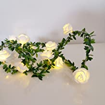 LED Light Strings Rose,Flash Mode,Flower Fairy Lights,9.8ft with 20LEDs 3AA Batteries Operated, Indoor Decoration,for Bedr...