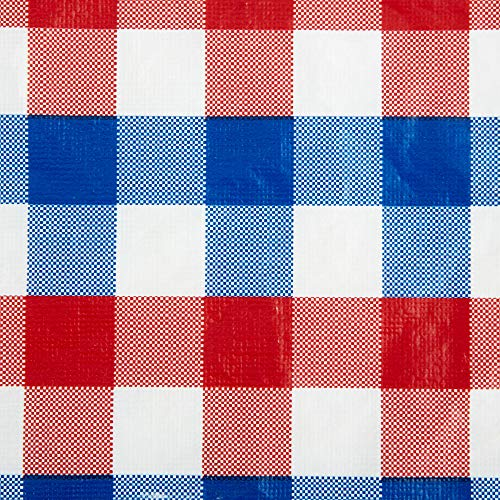 Contemporary Home Living 70' Round Multicolored Checkered Vinyl Tablecloth
