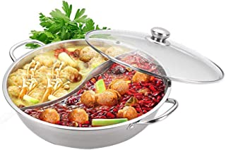 """Yzakka Stainless Steel Shabu Hot Pot with Divider for Induction Cooktop Gas Stove, 13"""""""