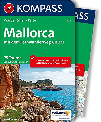 KOMPASS Wanderführer Mallorca: Wanderführer mit Extra-Tourenkarte 1:100.000, 75 Touren, GPX-Daten zum Download.