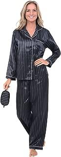 Women's Button Down Satin Pajama Set with Sleep Mask, Long Silky Pjs