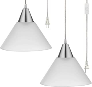 DEWENWILS Plug in Pendant Light, Interior Hanging Ceiling Light for Living Room, Bedroom, Dinning Hall, Frosted Plastic White Shade, 15FT Clear Cord On/Off Switch,Pack of 2