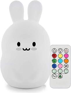 luz nocturna infantil, Tianhaixing LED Silicona blanda Conejo luz nocturna con 9 colores cambiando/USB recargable/control remoto y táctil regulable, ideal Navidad y regalos de cumpleaños para niños