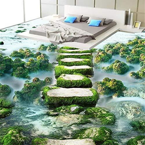 Meaosy aangepaste 3D-vloer behang stenen weg op het water grote muurschildering voor beddengoed kamer badkamer PVC zelfklevende muur muurbehang behang 200x140cm