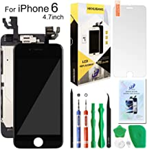 Compatiable with iPhone 6 Screen Replacement Black 4.7inch,Hkhuibang LCD Display 3D Touch Screen Digitizer Full Frame Assembly with OEM Front Camera Proximity Sensor Earpiece Speaker+Repair Tools Kit