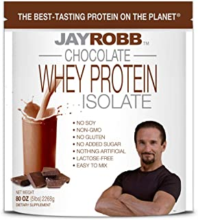 Jay Robb Whey Isolate Protein Powder, Low Carb, Keto, Vegetarian, Gluten Free, Lactose Free, No Sugar Added, No Fat, No Soy, Nothing Artificial, Non-GMO, Best-Tasting, 75 Servings (80 oz, Chocolate)