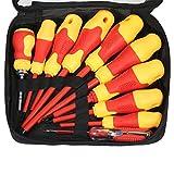 KKmoon - Destornilladores Aislados, Ranuras Magnéticas, Bits Phillips Empuñaduras Suaves, Electricistas Herramientas de Reparación de Trabajo Eléctrico (Tipo2)