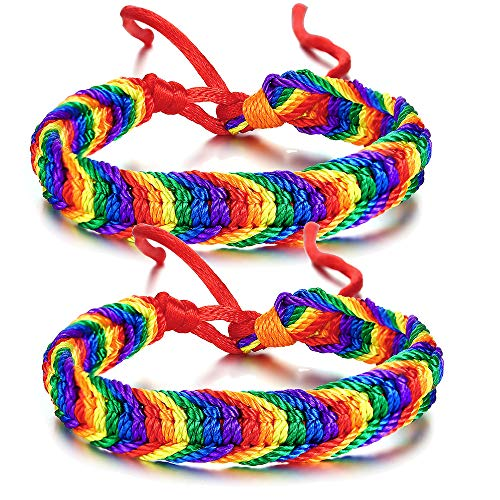 2 Pcs Handmade Handwoven Rainbow Gay & Lesbian LGBT Pride Bracelets for Pride Parade Love Jewelry Adjustable