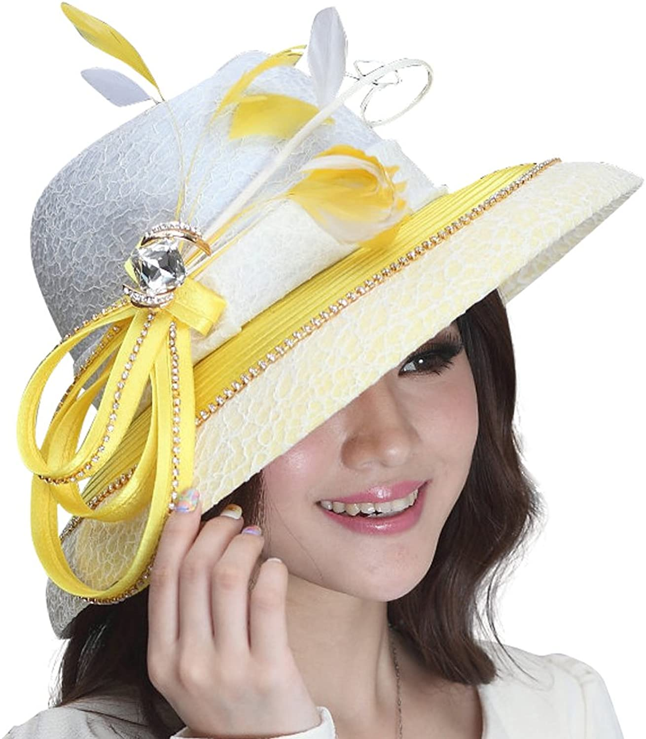 June's Young Ladies Hats Top Hat Wide Brim Feather Flat Top Hat Party