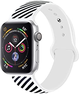 Sport Band Compatible with Apple Watch Band 38mm 40mm 42mm 44mm, Premium Soft Silicone Off White Black Stripes Replacement Band Straps for iWatch Series 4/3 / 2/1 (Black/White S2, 38MM/40MM S/M)