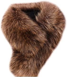 Faux Fur Collar Scarf Fluffy Neck Warmer Shawl for Womens Clothes
