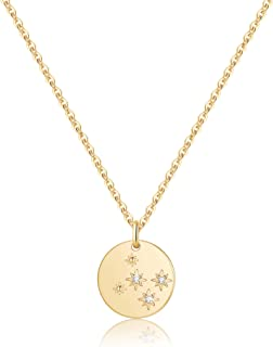 MONOZO Zodiac Necklace for Women, 14K Gold Filled CZ 12 Constellation Pendant Necklace Minimalist Zodiac Sign Necklaces As...