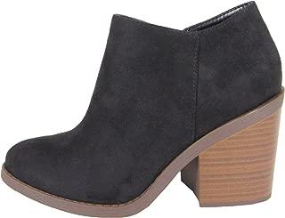 SODA Women's Closed Toe Zipper Block Stacked Chunky Heel Ankle Bootie