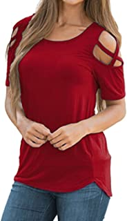 Cold Shoulder T-Shirt for Womens Summer Print Tops Strappy Short Sleeve Casual Blouse Tunic