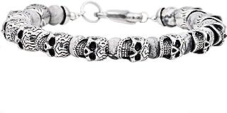 Blackjack Jewelry Men's Genuine Gemstone Stainless Steel Skull Bead Bracelet