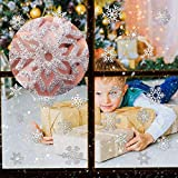 CCINEE 48pcs Glitter Snowflake Clings Window Film Glass Sticker Static Decal for Christmas Decoration