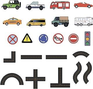 Licogel Bathtub Toy Set Cartoon Car Floating Educational Traffic Road Bathroom Toy Stick to Wall Bath Toy Simulated Car