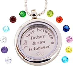 Living Memory Locket Necklace with Birthstones Floating Charms Gifts for Son Daughter