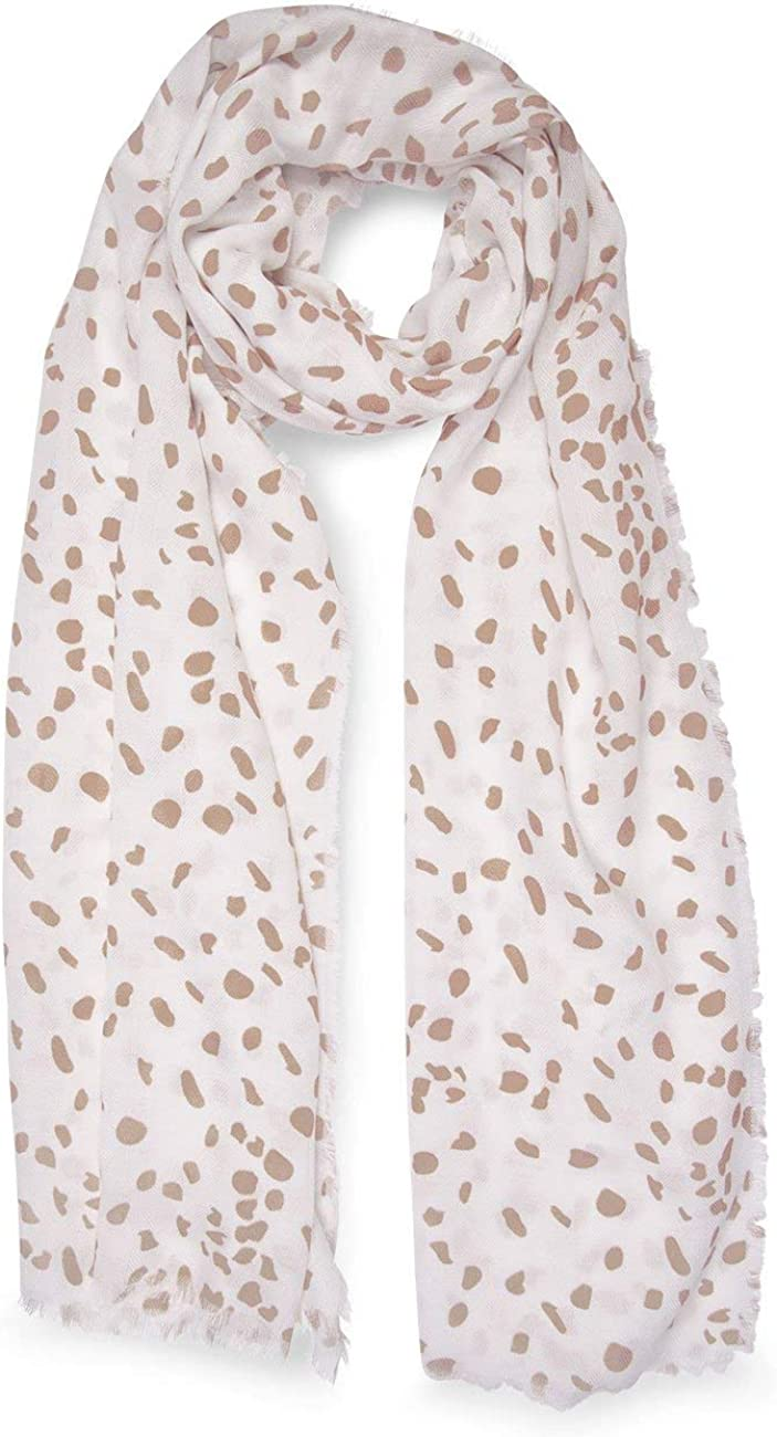 Katie Loxton Printed Pattern Womens One Size Fits Most Fashion Scarf White & Taupe Leopard Print