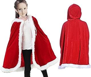Christmas Cloak for Kids Santa Claus Velvet Hooded Cape Costume for Children Red