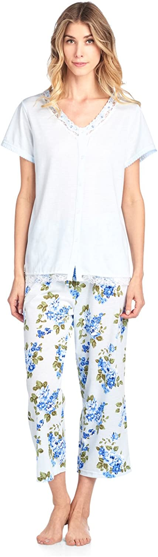 Casual Nights Women's Short Sleeve Floral Satin Lace Capri Pajama Set