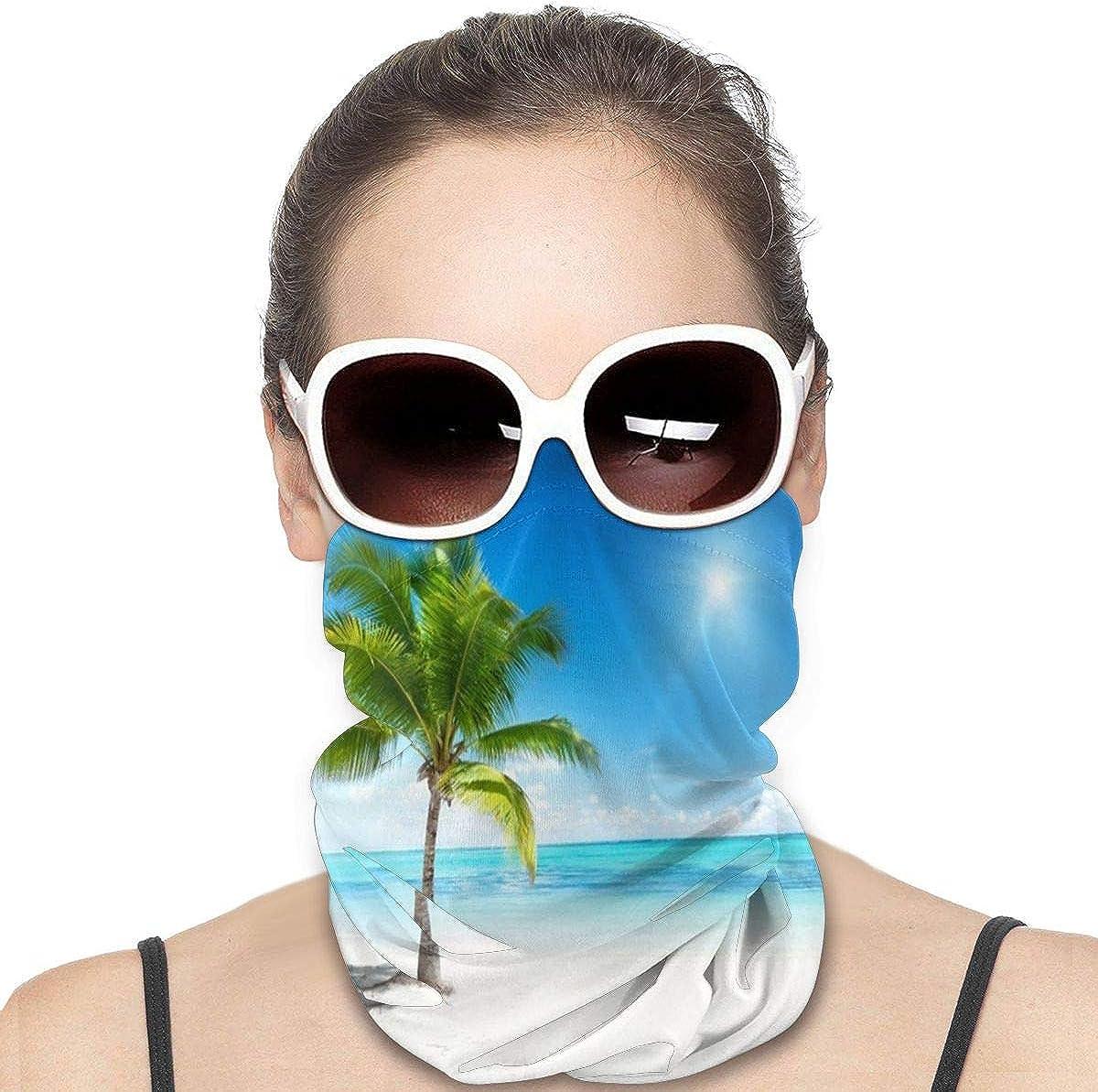 KiuLoam Women Bandanas Face Mask, Sunny Sea Palm and Beach Neck Gaiter Mask Headband for Men Face Scarf Dust, Outdoors, Sports