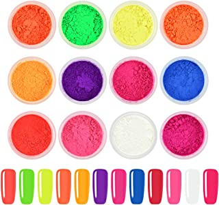 Ownest 12 Boxes Pigment Nail Powder, Colorful Fluorescent color Nail Pigments Dust Nail Glitter Gradient Iridescent Nail Art Decoration