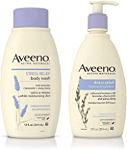 AVEENO Stress Relief Body Wash With Lavender, Chamomile & Ylang-Ylang Oils 12 oz & Aveeno Stress Relief Lotion To Calm & Relax 12 oz ea