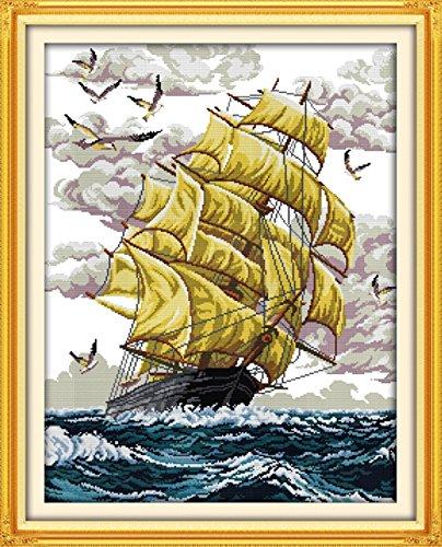 Arte YEESAM Nueva Kits de punto de cruz avanzada–Vela Barco de 14hilos 50x...