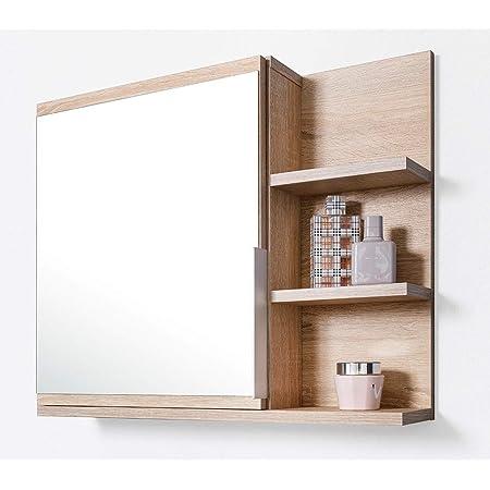 DOMTECH Home Decor Armoire de salle de bain avec miroir et étagères - En chêne Sonoma