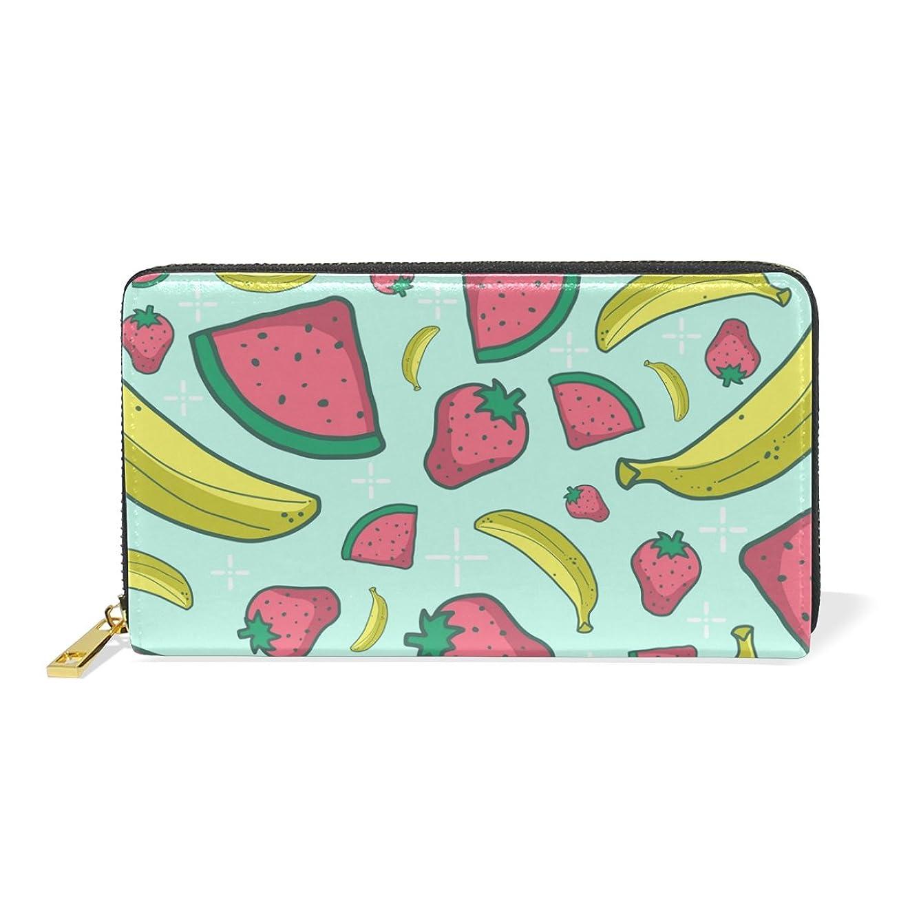 宿る有名起きるAyuStyle 財布 長財布 レディース メンズ 人気 可愛い 果物 スイカ 二つ折り財布 PUレザー 大容量 高品質 ラウンドファスナー ウォレット