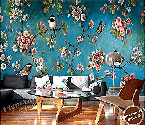 Continental Wandfernseher Antike Blumen und große Vogelbilder Wohnzimmer Wohnzimmer Fernseher Hyun-Off Schlafzimmer Tapete 3d wandbild tapeten vintage Moderne Hintergrundbild-250cm×170cm
