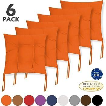 40x40x1cm Ristorante per casa Bar Patio Arancione Giardino Smithoom Set di 6 Cuscini per Sedia con Lacci Quadrati per sedie