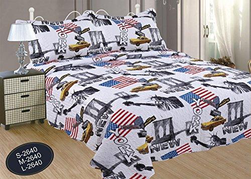 ForenTex- Colcha Boutí reversible, (L-2640), cama 150 cm, 240 x 260 cm, Estampada cosida, New York, +2 cojines, colcha barata, set de cama, ropa de cama. Por cada 2 colchas o mantas paga solo un envío (o colcha y manta), descuento equivalente antes de finalizar la compra.