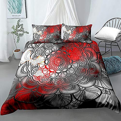 JOEYFAYE Bohemian Style Duvet Cover Set, Microfiber Bedding With Pillowcase 50 * 75cm, Zipper Closure, 220 * 240cm Bohemia2