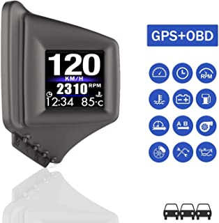 Head Up Display for Car, iKiKin Car HUD Display OBD2 GPS Dual System, GPS for All Vehicles