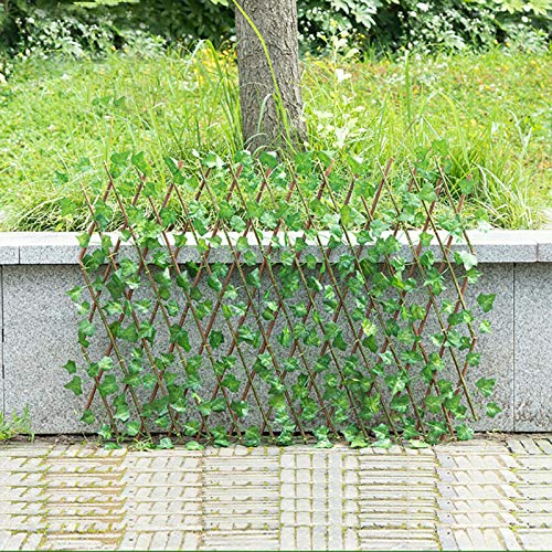 Window-pick Expandable Faux Privacy Fence with Sweet Potato Leaves Retractable Fence Expanding Trellis Privacy Screen Fence Durable Wooden Trellis Plant for Backyard Home Decor Greenery Walls