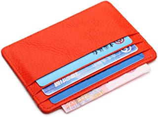 Artmi RFID Blocking Leather Slim Card Holder Women Card Case Mens Wallet with ID Window (Orange without ID Window)