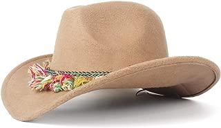 JAUROUXIYUJI New Women Wool Felt Western Cowboy Roll-up Brim Lady Cowgirl Sombrero Hat with Fashion Ribbon (Color : Beige, Size : 56-59cm)