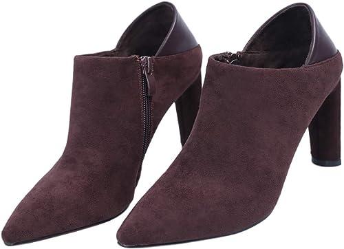 SFSYDDY Chaussures Populaires Une Bouche D'épaisseur Talon De Chaussures De Style De 100 Ensembles Zipper 8.5Cm Talons