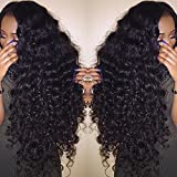 Valentines Day Gifts for Her Perpetuum Shiny Loose Deep Curly Wave Glueless Lace Front Wigs Brazilian Virgin Human Hair Wigs With Baby Hair for Black Women(14'' lace front wig)