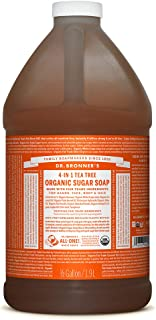 Dr. Bronner's - Organic Sugar Soap (Tea Tree, 64 Ounce) - Made with Organic Oils, Sugar and Shikakai Powder, 4-in-1 Uses: Hands, Body, Face and Hair, Cleanses, Moisturizes and Nourishes, Vegan