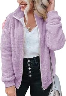 Macondoo Women Basic Full Zip Fleece Outwear Coat Fuzzy Slim Jacket