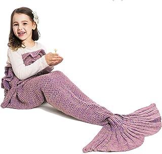 JR.WHITE Mermaid Tail Blanket for Kids, Hand Crochet Snuggle Mermaid, All Seasons Seatail..