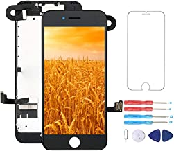 Screen Replacement for iPhone 7 Black Pre-Assembled LCD Display and 3D Touch Screen Digitizer Replacement with Proximity Sensor, Ear Speaker, Front Camera and Repair Tools