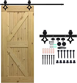 CCJH 12FT Heavy Duty Sliding Barn Wood Door Hardware Kit - Smoothly and Stable - Easy Installation - Fit 72