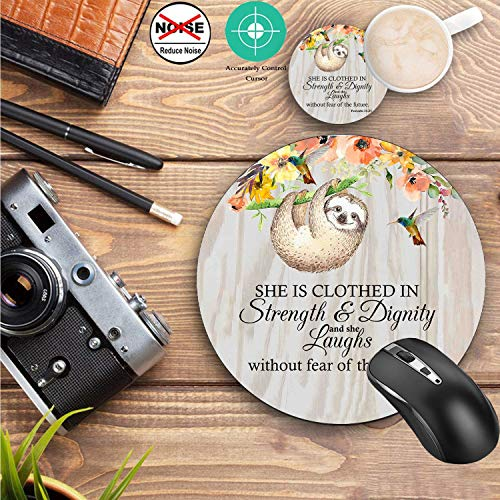 Round Mouse Pad and Coasters Set, Proverbs 31:25 Christian Quotes Bible Verse Mousepad, Anti Slip Rubber Round Mousepads Desktop Notebook Mouse Mat for Working and Gaming Photo #7