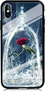 GSPSTORE iPhone X/iPhone 10 Tempered Glass Protection Back Case,Beauty and The Beast Pattern Shock Absorption Double Anti-Scratch Case Cover for iPhone X/iPhone 10#06